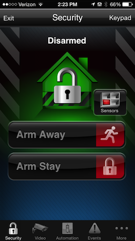 Total Connect 2.0- Alarm Control Screenshot