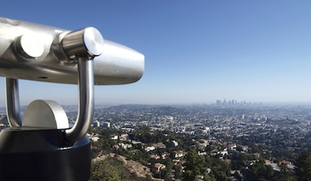 Los Angeles City View with tourist telescope.